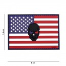 PATCH PVC 3D VELCRO 101 INC DRAPEAU USA SKULL